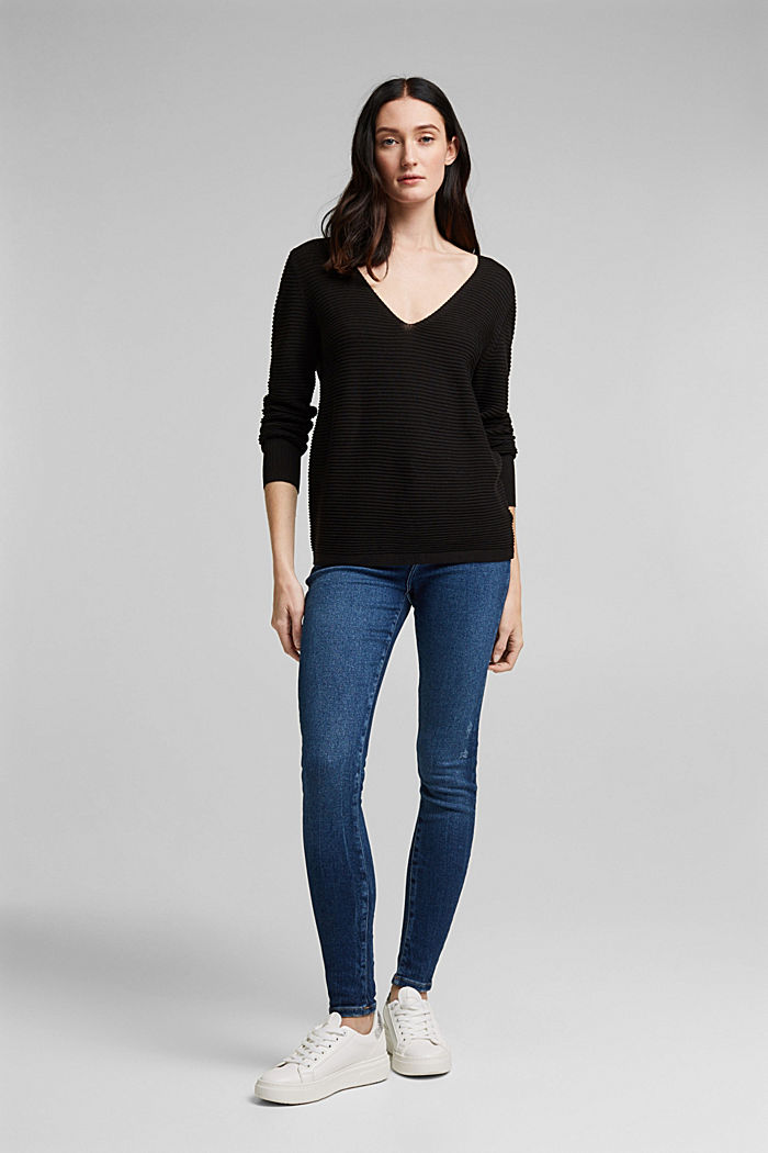 With lyocell TENCEL™: Ribbed jumper, BLACK, detail image number 1
