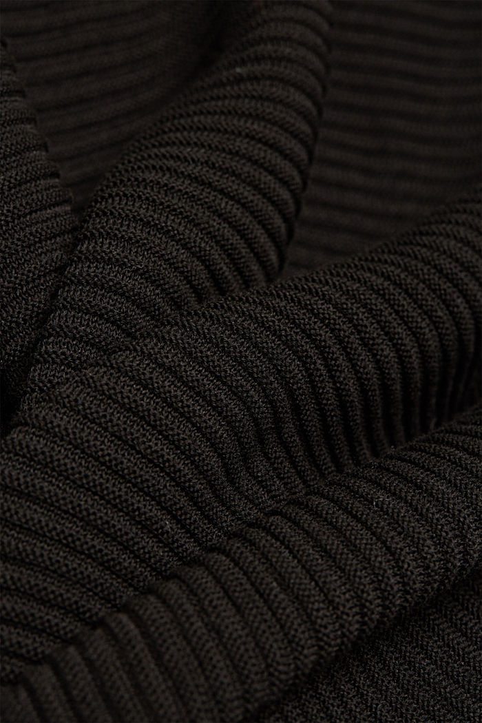 With lyocell TENCEL™: Ribbed jumper, BLACK, detail image number 4