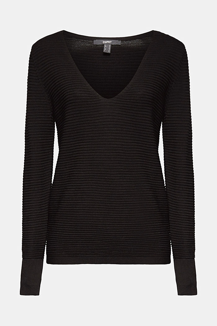 Mit Lyocell TENCEL™: Ripp-Pullover, BLACK, overview