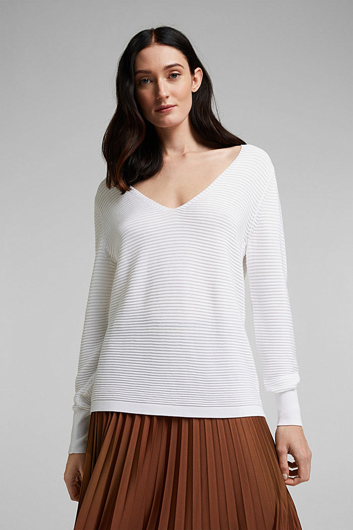 Mit Lyocell TENCEL™: Ripp-Pullover, WHITE, detail image number 0
