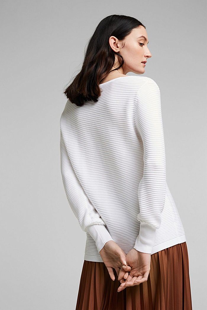 With lyocell TENCEL™: Ribbed jumper, WHITE, detail image number 3