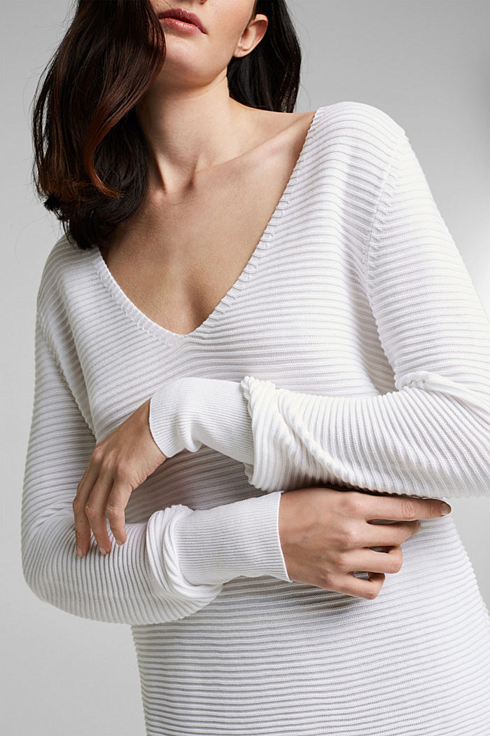 Mit Lyocell TENCEL™: Ripp-Pullover, WHITE, detail image number 2