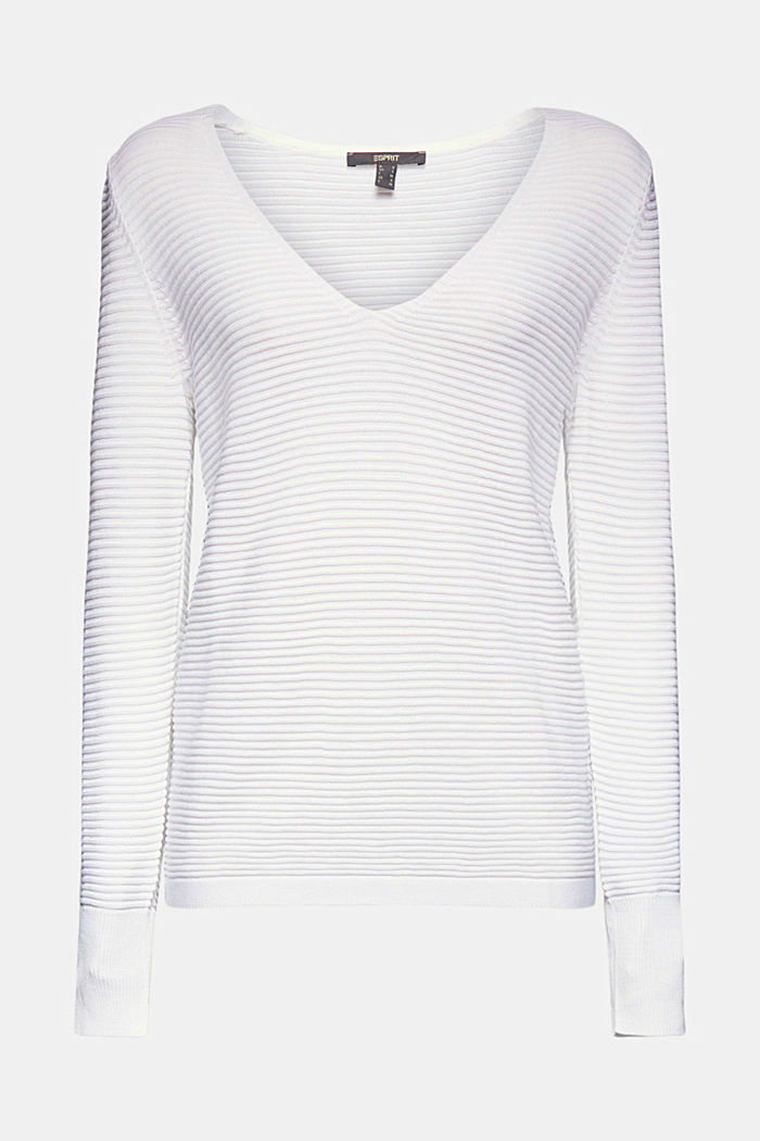 With lyocell TENCEL™: Ribbed jumper, WHITE, detail image number 6