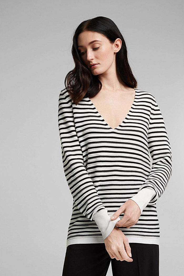 With lyocell TENCEL™: Ribbed jumper