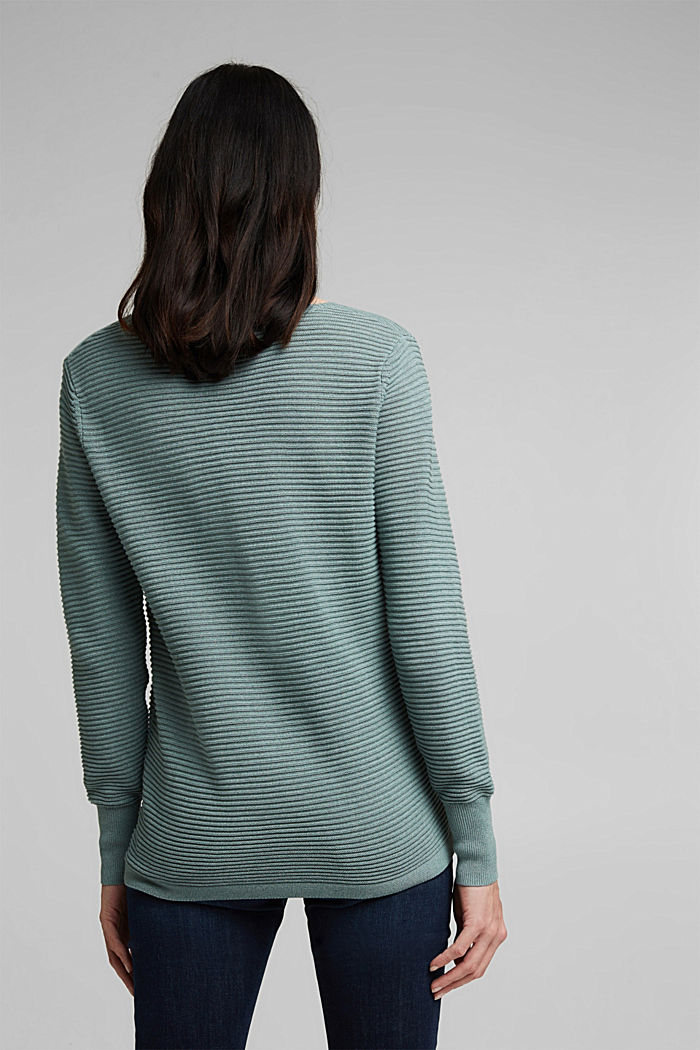 With lyocell TENCEL™: Ribbed jumper, DARK TURQUOISE, detail image number 3