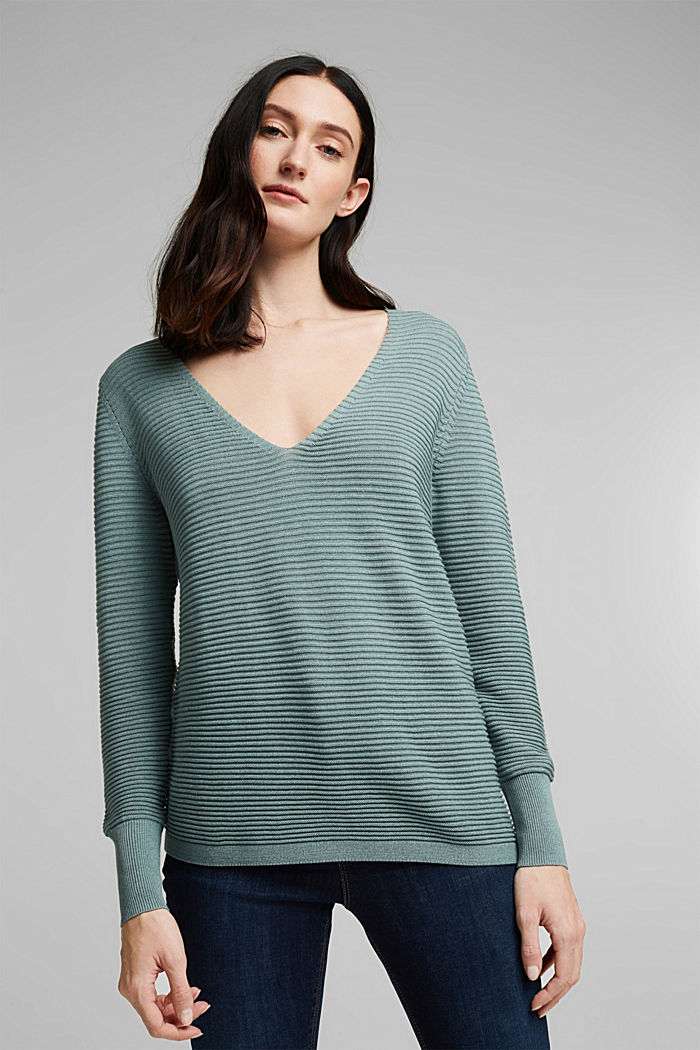 With lyocell TENCEL™: Ribbed jumper, DARK TURQUOISE, detail image number 5