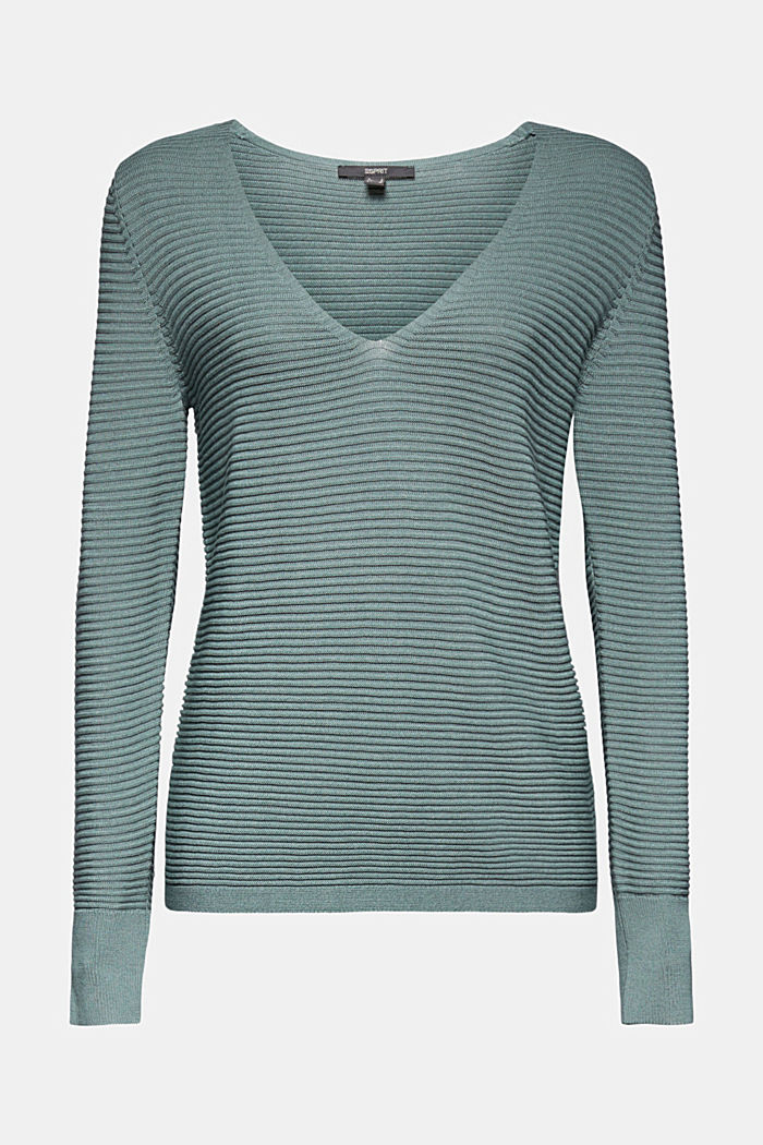 With lyocell TENCEL™: Ribbed jumper, DARK TURQUOISE, detail image number 6