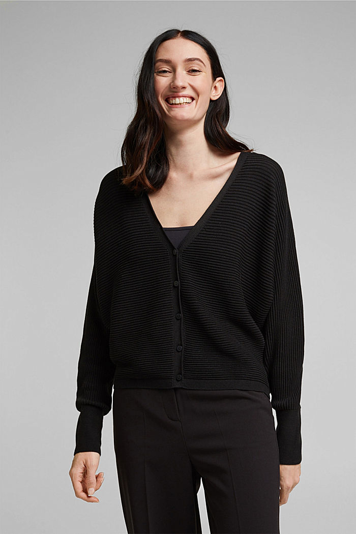 With lyocell TENCEL™: Ribbed cardigan, BLACK, overview