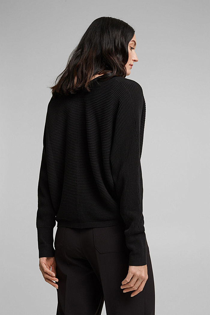 With lyocell TENCEL™: Ribbed cardigan, BLACK, detail image number 3