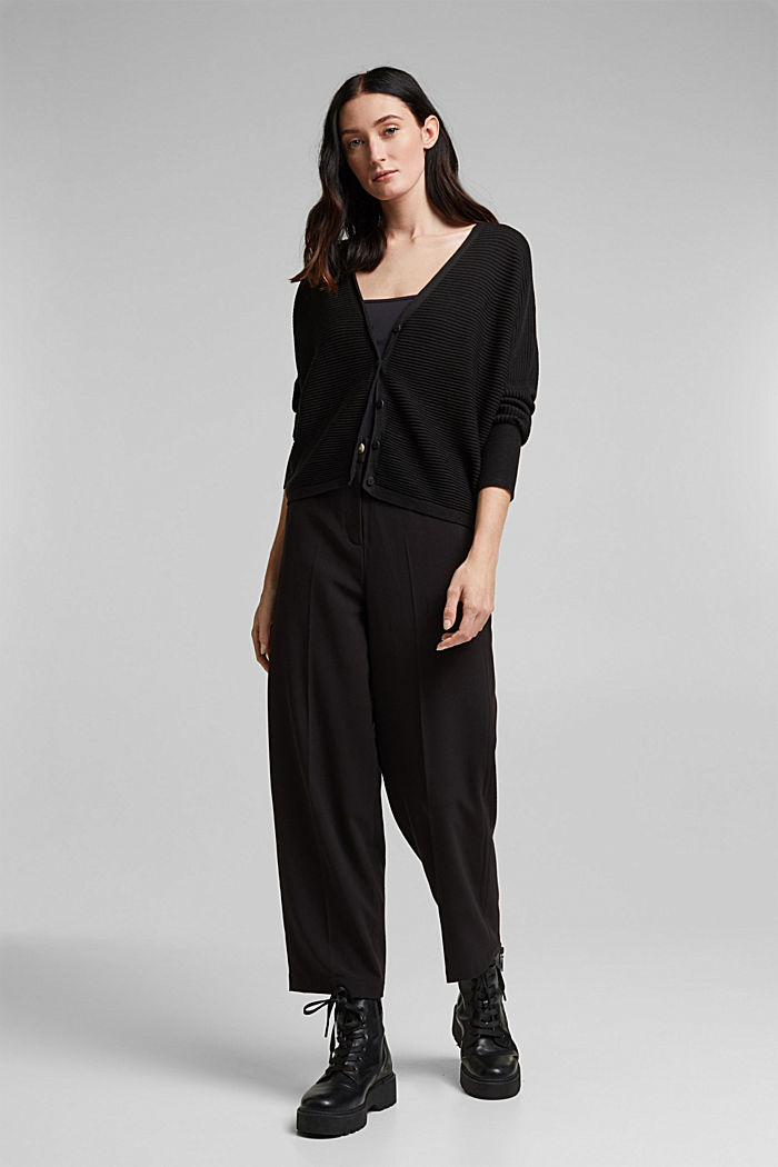 With lyocell TENCEL™: Ribbed cardigan, BLACK, detail image number 1