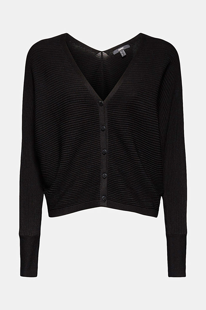 With lyocell TENCEL™: Ribbed cardigan, BLACK, detail image number 4