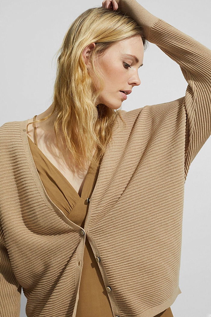 Met lyocell TENCEL™: geribd vest, SAND, detail image number 5
