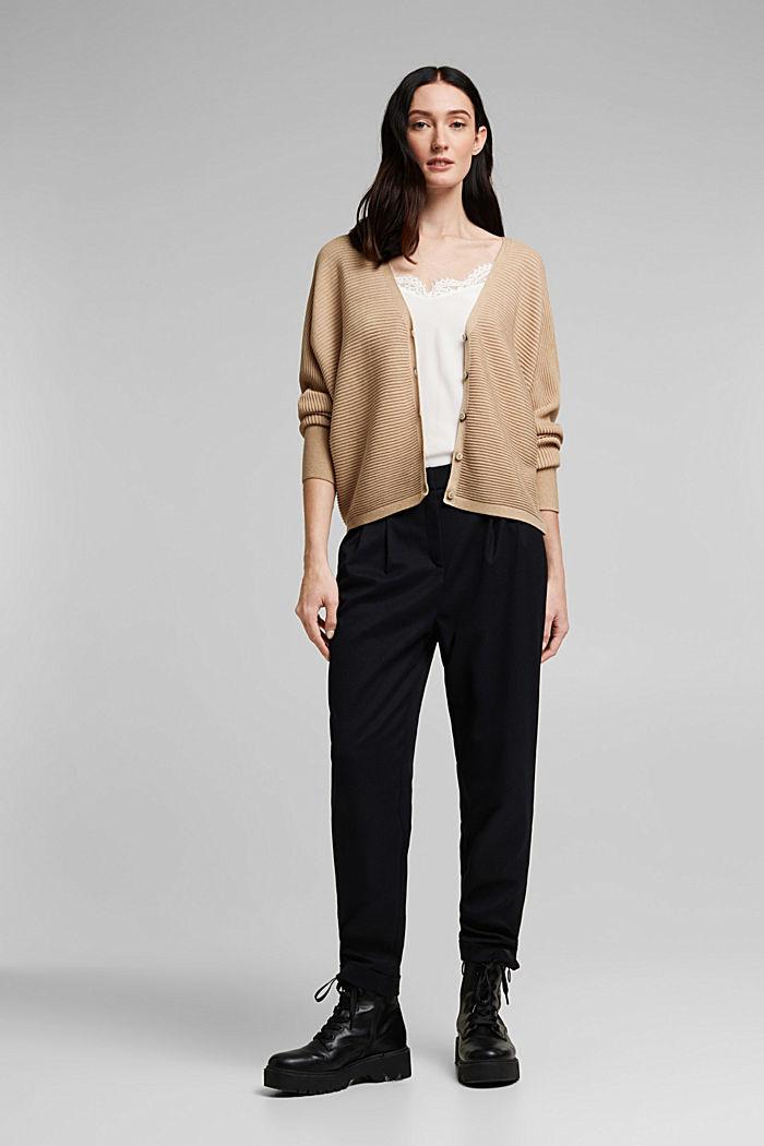 Met lyocell TENCEL™: geribd vest, SAND, detail image number 1