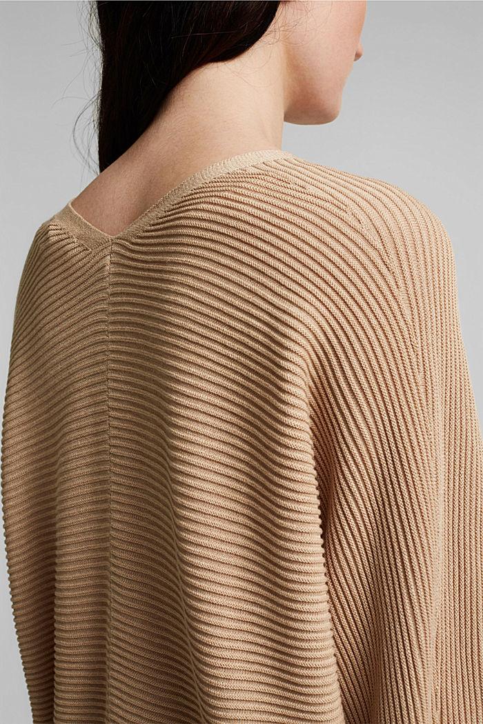 Met lyocell TENCEL™: geribd vest, SAND, detail image number 2