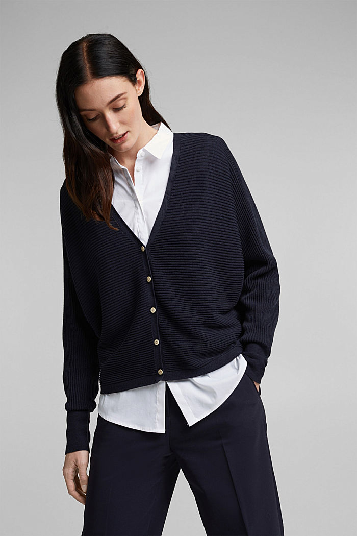 With lyocell TENCEL™: Ribbed cardigan, NAVY, detail image number 0