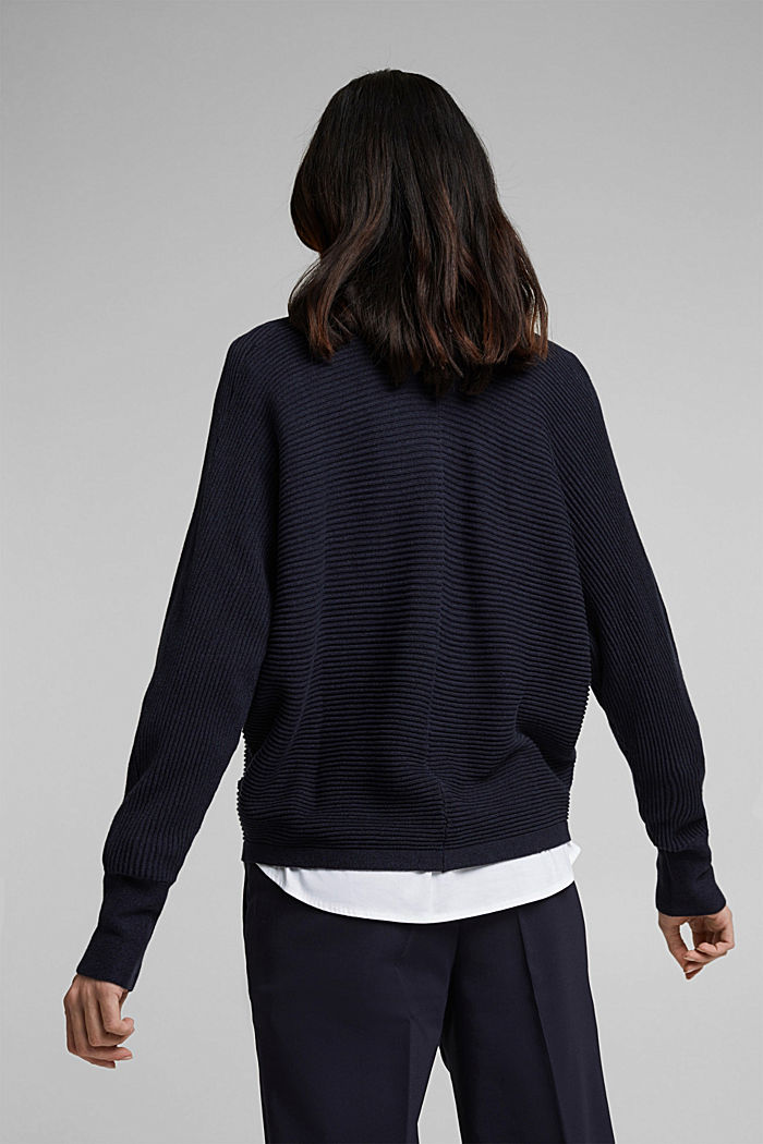 With lyocell TENCEL™: Ribbed cardigan, NAVY, detail image number 3