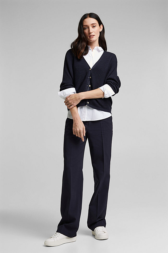 With lyocell TENCEL™: Ribbed cardigan, NAVY, detail image number 1