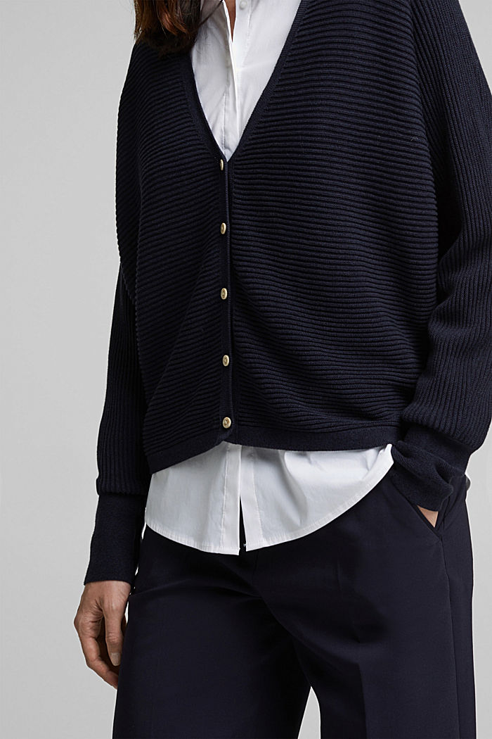 With lyocell TENCEL™: Ribbed cardigan, NAVY, detail image number 2