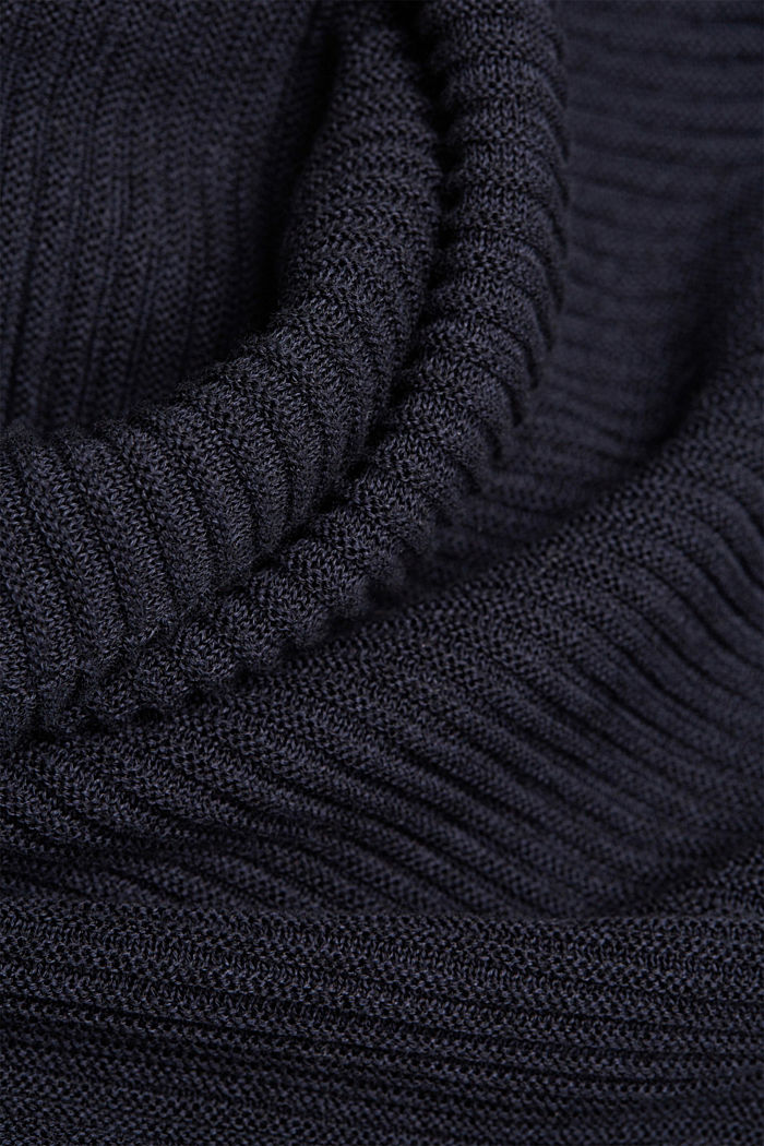 With lyocell TENCEL™: Ribbed cardigan, NAVY, detail image number 4