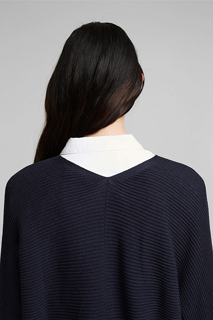 With lyocell TENCEL™: Ribbed cardigan, NAVY, detail image number 5