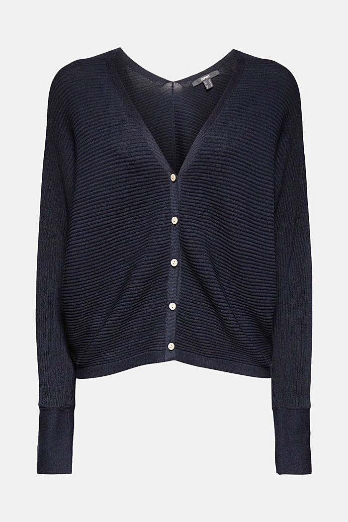 With lyocell TENCEL™: Ribbed cardigan, NAVY, detail image number 7