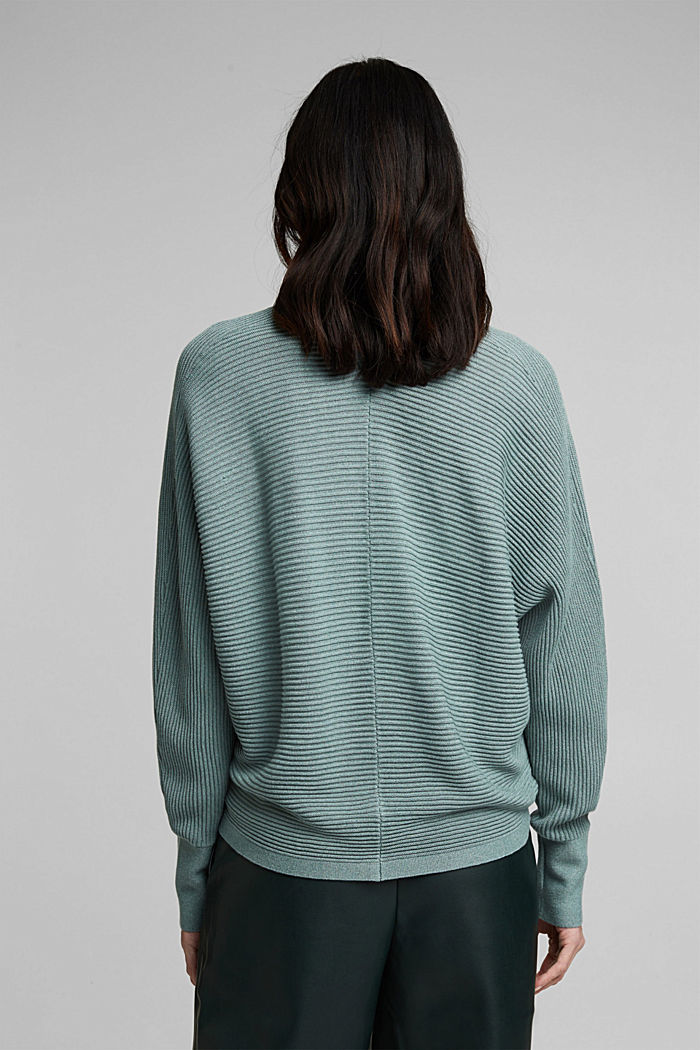 With lyocell TENCEL™: Ribbed cardigan, DARK TURQUOISE, detail image number 3