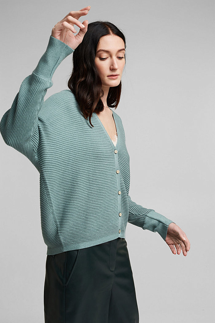 With lyocell TENCEL™: Ribbed cardigan, DARK TURQUOISE, detail image number 5