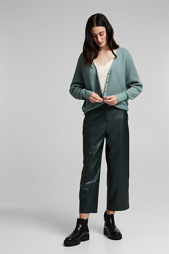With lyocell TENCEL™: Ribbed cardigan, DARK TURQUOISE, detail image number 1