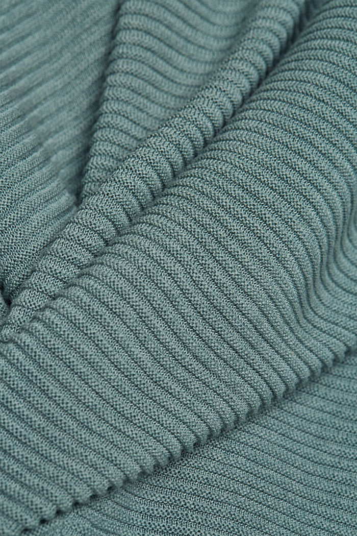 With lyocell TENCEL™: Ribbed cardigan, DARK TURQUOISE, detail image number 4