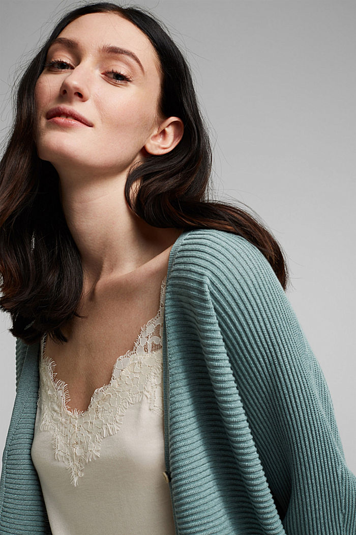 With lyocell TENCEL™: Ribbed cardigan, DARK TURQUOISE, detail image number 6
