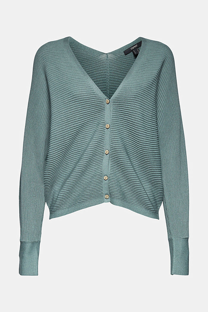 Mit Lyocell TENCEL™: Ripp-Cardigan, DARK TURQUOISE, overview