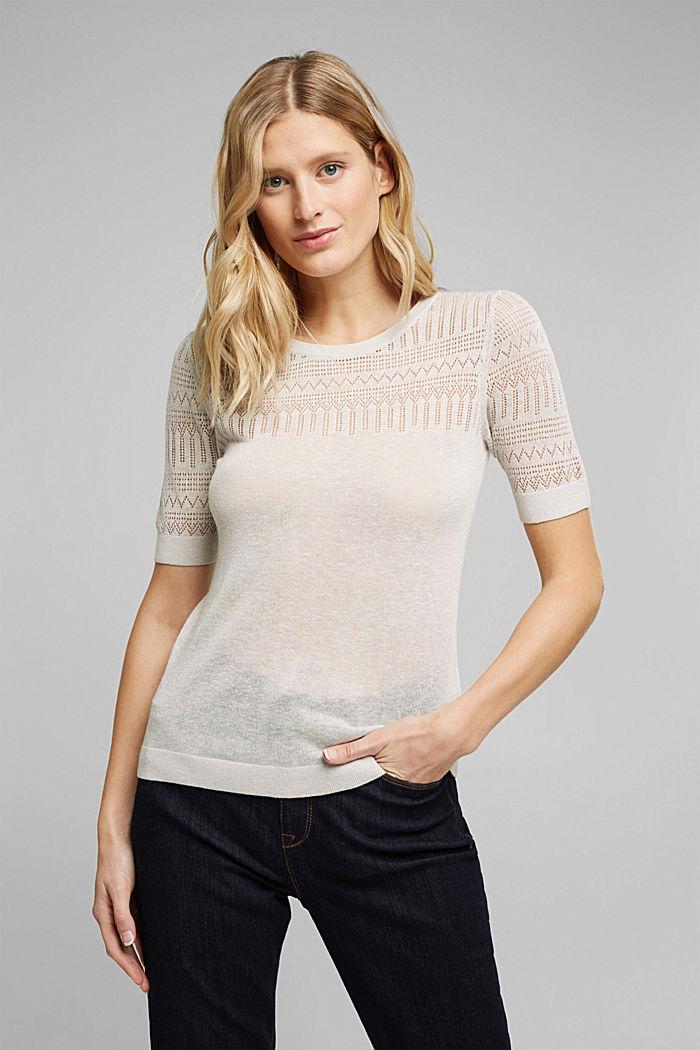 Mit Leinen: Kurzarrm-Pullover