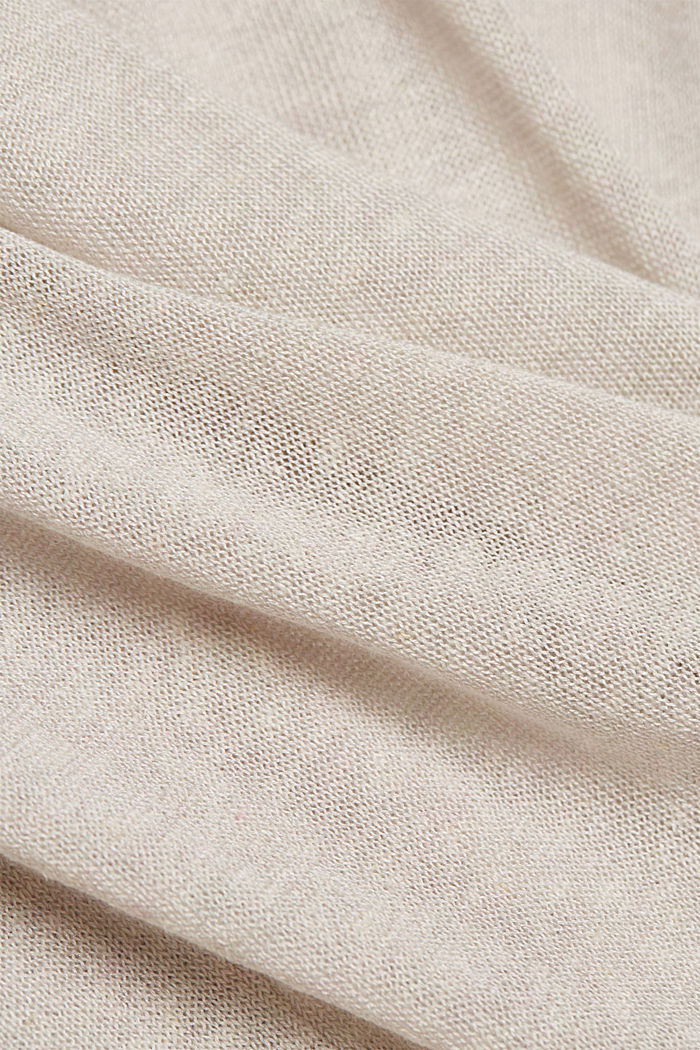 Con lino: pullover a manica corta, OFF WHITE, detail image number 4
