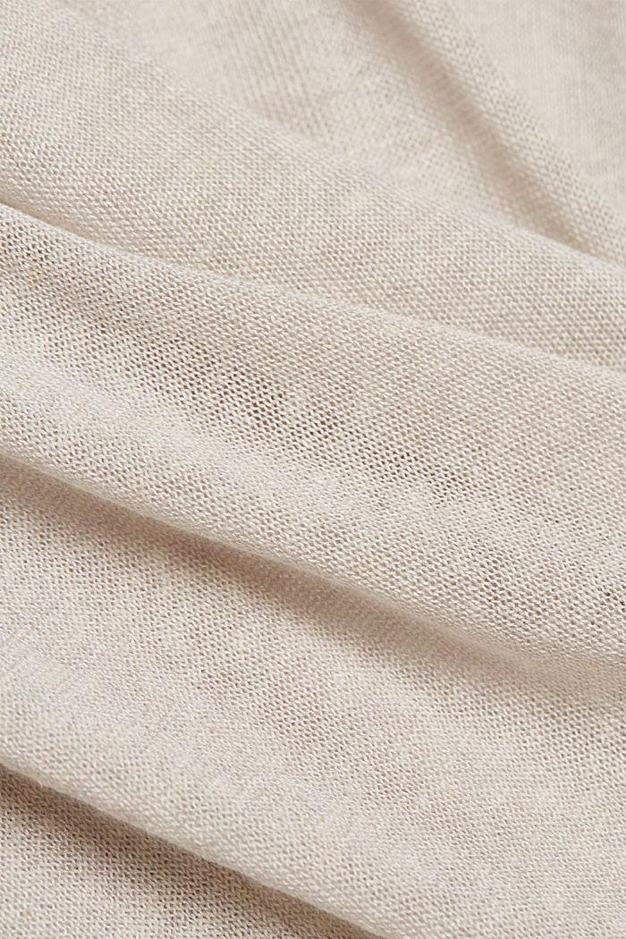 Sisältää pellavaa: lyhythihainen neulepusero, OFF WHITE, detail image number 4