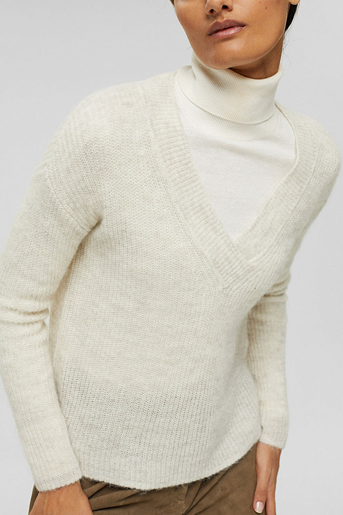 Met alpaca: trui met V-hals, ICE, detail image number 2