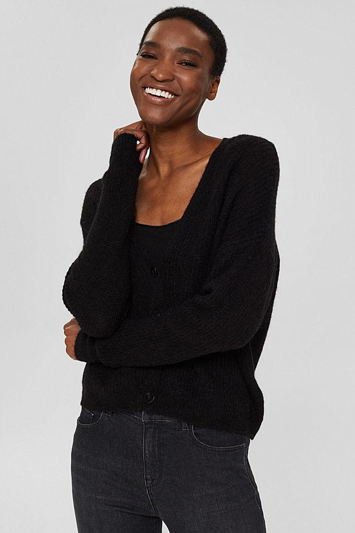 À teneur en / laine alpaga: le cardigan en maille côtelée, BLACK, detail image number 0