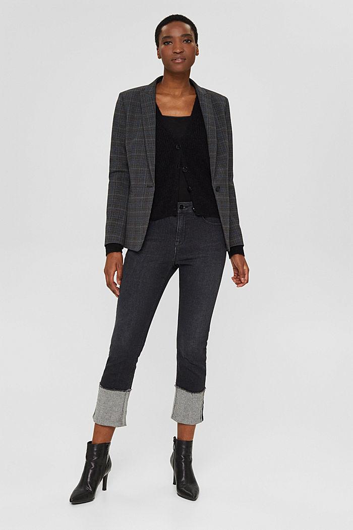 À teneur en / laine alpaga: le cardigan en maille côtelée, BLACK, detail image number 1