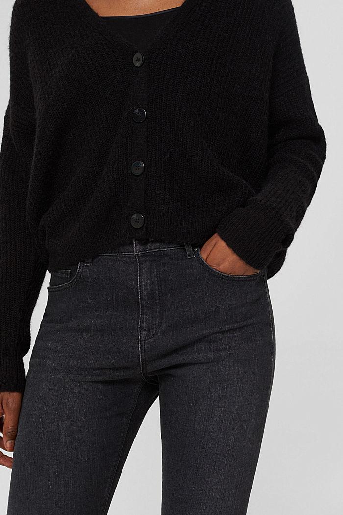 À teneur en / laine alpaga: le cardigan en maille côtelée, BLACK, detail image number 2