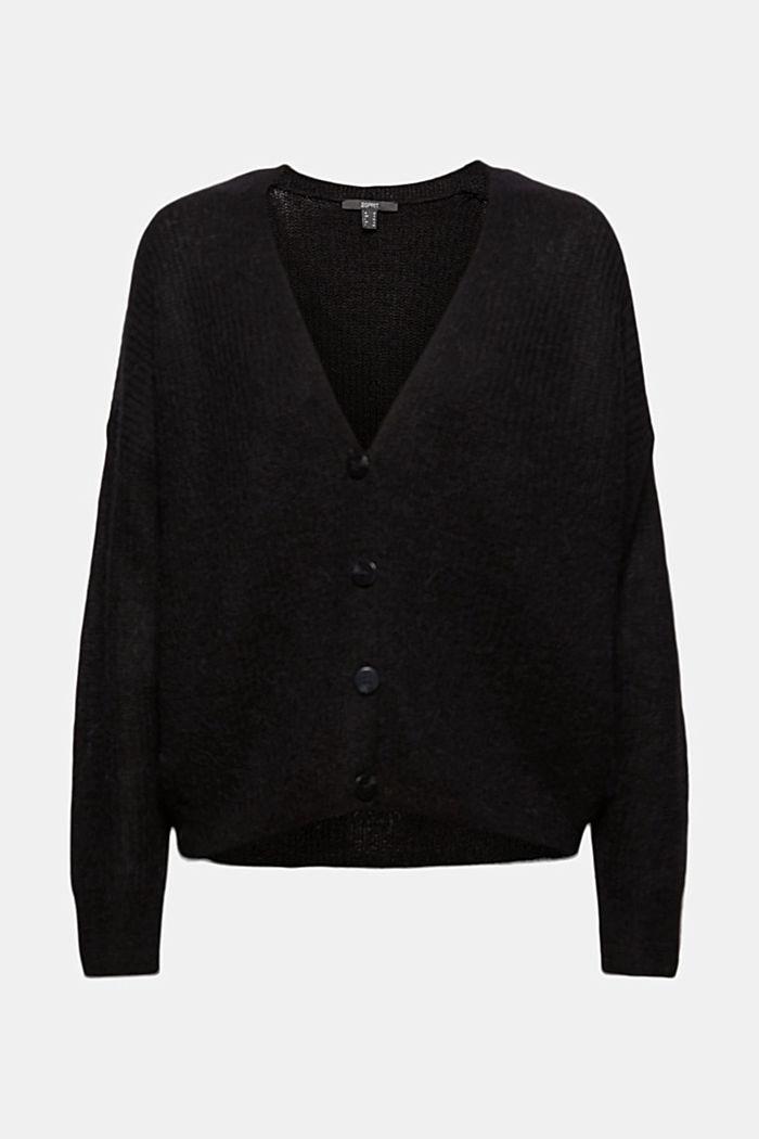 À teneur en / laine alpaga: le cardigan en maille côtelée, BLACK, detail image number 6