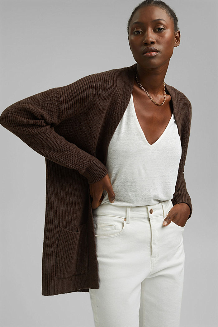 En coton bio et TENCEL™: le cardigan ouvert, DARK BROWN, detail image number 0