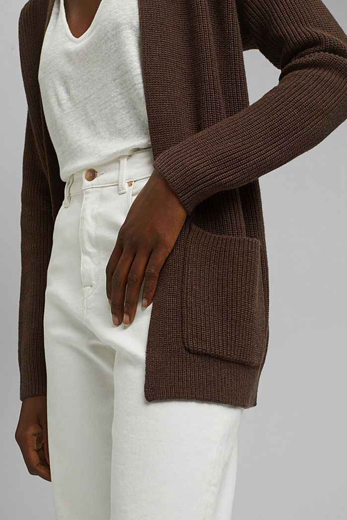 En coton bio et TENCEL™: le cardigan ouvert, DARK BROWN, detail image number 2