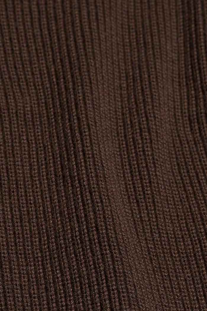 En coton bio et TENCEL™: le cardigan ouvert, DARK BROWN, detail image number 4