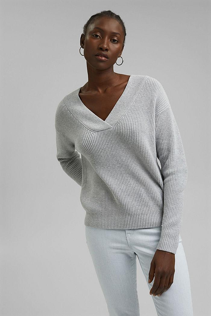 Con lana y cachemir: jersey de algodón ecológico, LIGHT GREY, detail image number 0