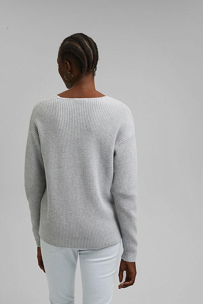 Con lana y cachemir: jersey de algodón ecológico, LIGHT GREY, detail image number 3