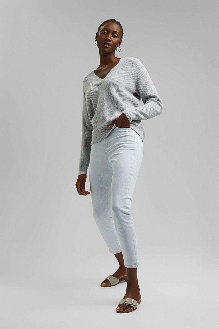 Con lana y cachemir: jersey de algodón ecológico, LIGHT GREY, detail image number 1
