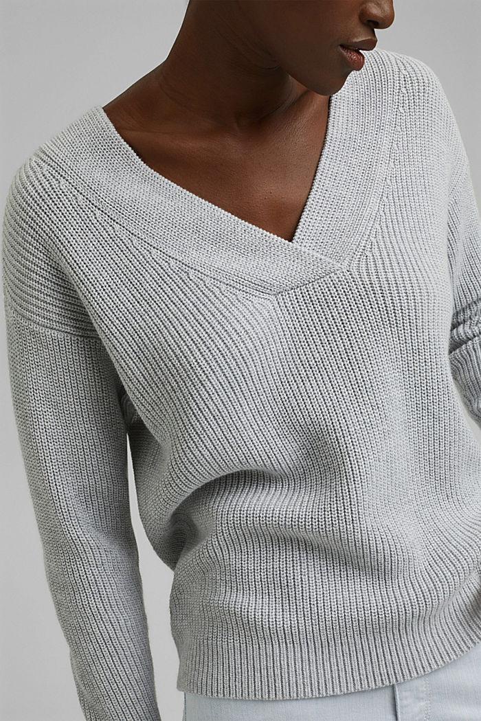 Con lana y cachemir: jersey de algodón ecológico, LIGHT GREY, detail image number 2
