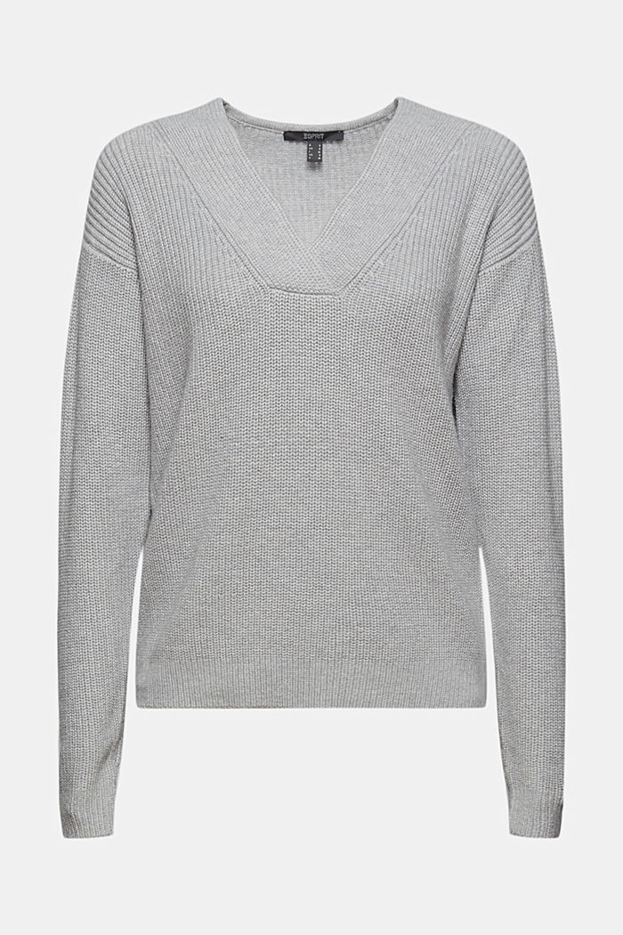 Met wol/kasjmier: Fijngebreide trui van biologisch katoen