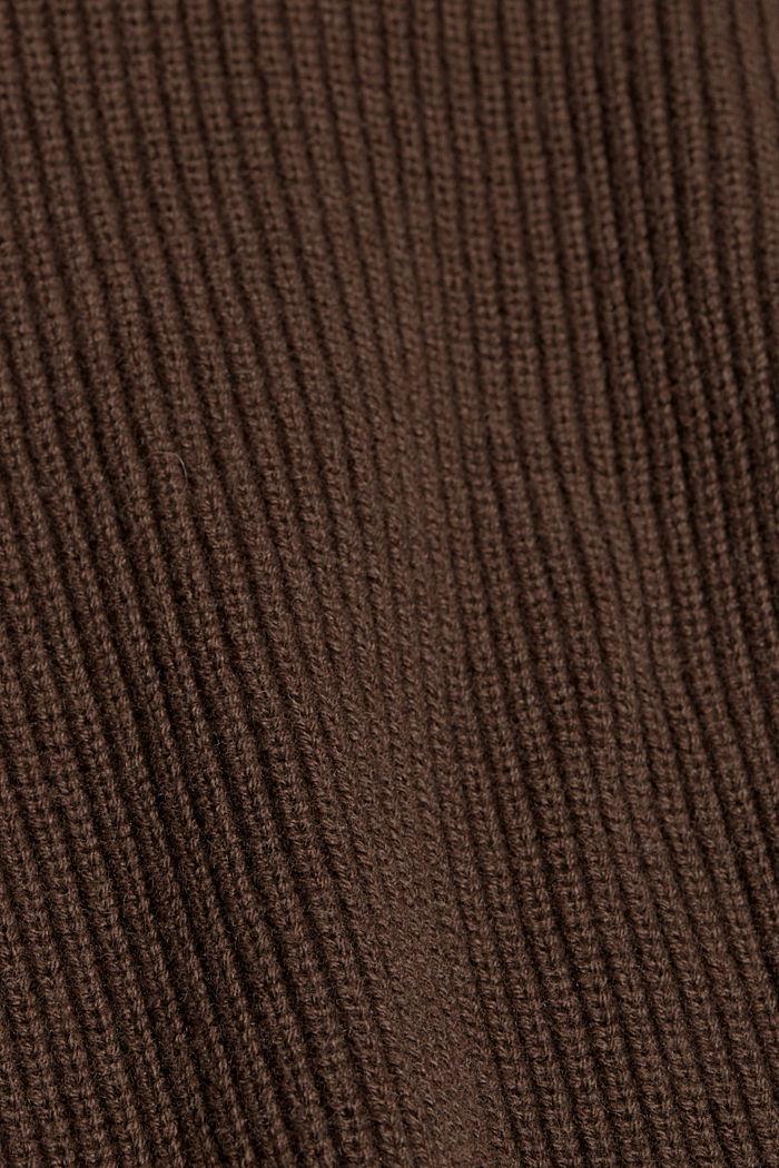 À teneur en laine et cachemire: le pull-over en coton bio, DARK BROWN, detail image number 4