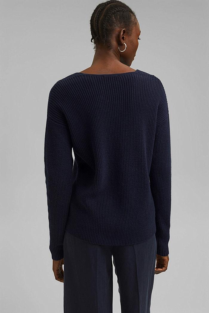 Con lana y cachemir: jersey de algodón ecológico, NAVY, detail image number 3