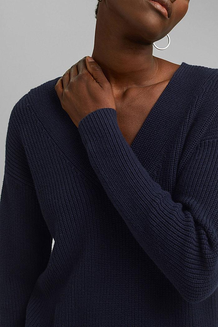Con lana y cachemir: jersey de algodón ecológico, NAVY, detail image number 2